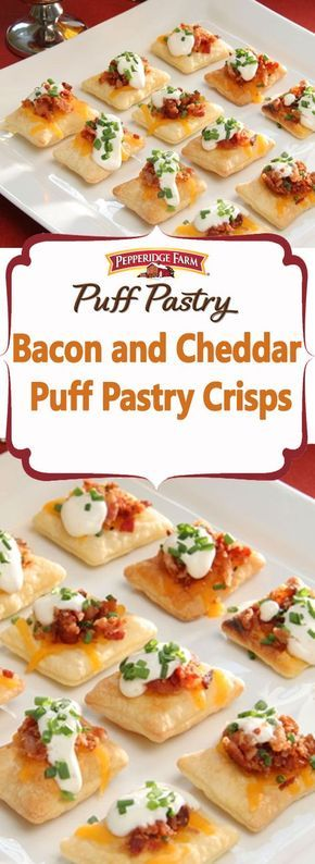 Pepperidge Farm Puff Pastry Bacon and Cheddar Puff Pastry Crisps Recipe. Your guests are sure to enjoy these bite-sized appetizers with big-sized flavors like bacon, Cheddar cheese, and a creamy ranch dressing.