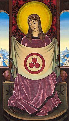 Madonna Oriflamma with Banner of Peace, 1932, Nicholas Roerich. (Nicholas Roerich Museum via huffingtonpost.com via @Nezka Pfeifer)