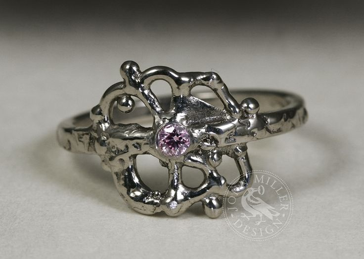 18ct white gold fused ring set with a pink diamond, all handmade in our Yallingup workshop