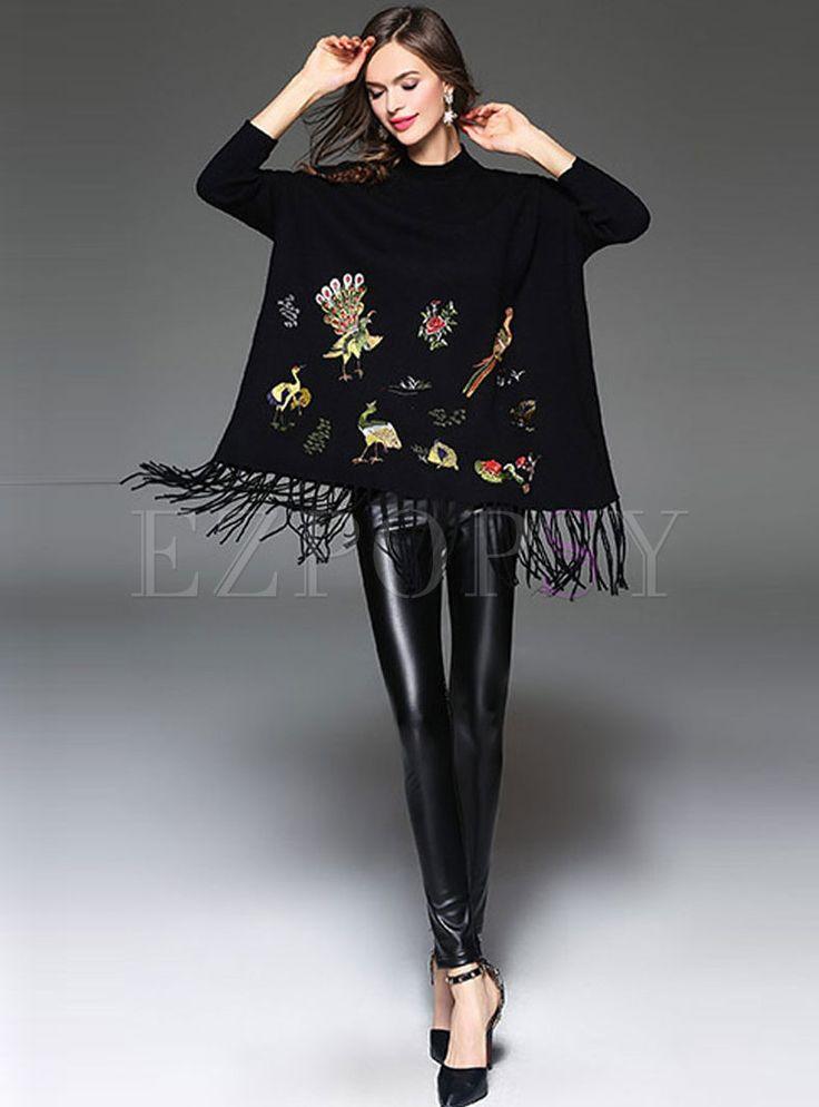 Shop for high quality Three Quarter Sleeve Embroidery Tassel Stylish Cashmere Kimono online at cheap prices and discover fashion at Ezpopsy.com