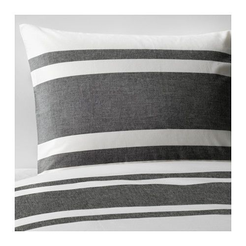 QUEEN SIZE - BJÖRNLOKA Duvet cover and pillowcase(s), black white, black white/black  - KING SIZE