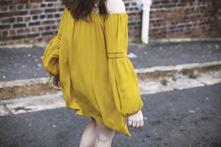 Golden Delusions  Raya Rossi Yellow dress off the shoulder Michael Kors watch bright bohemian off the shoulder