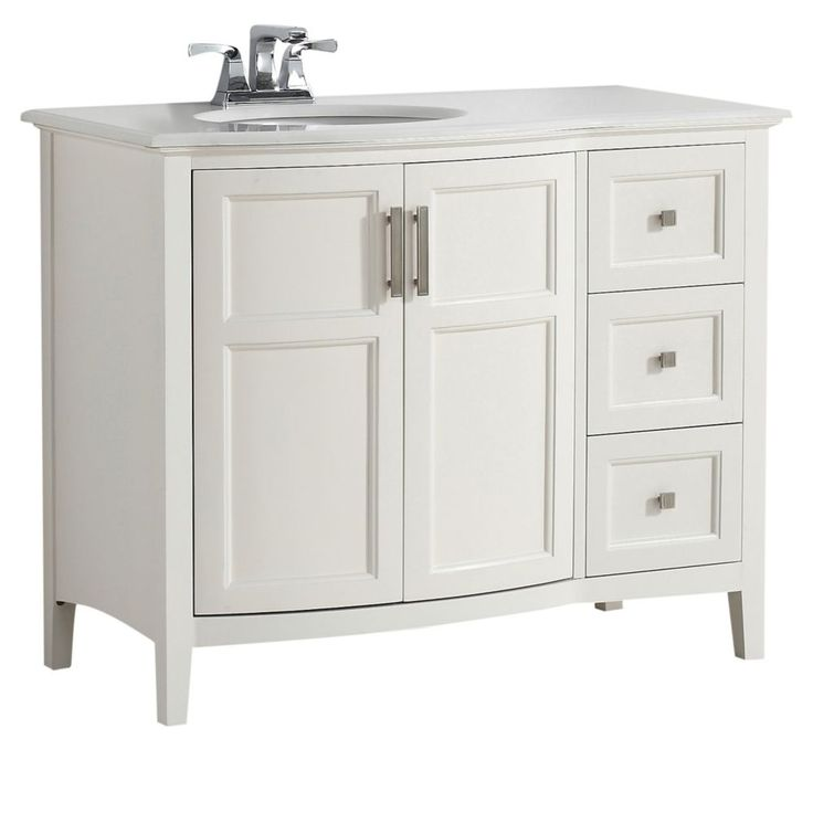 Winston 42 Inch Soft White Bath Vanity Rounded Front with Quartz Marble Top