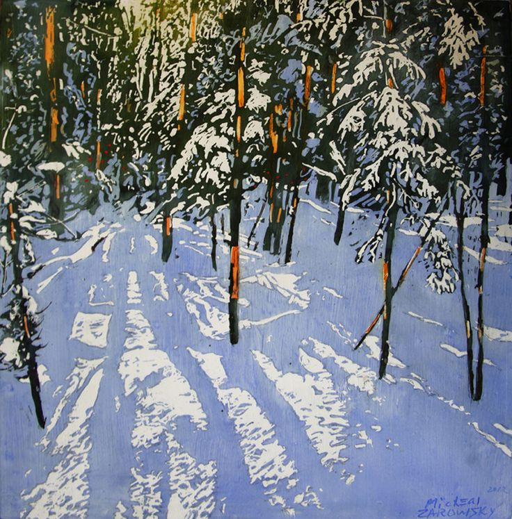 """a moment in time - strips of sunlight across the  silence 15"""" x 15"""" micheal zarowsky / Mixed media (watercolour / acrylic painted directly on gessoed birch panel)  Available $500.00"""