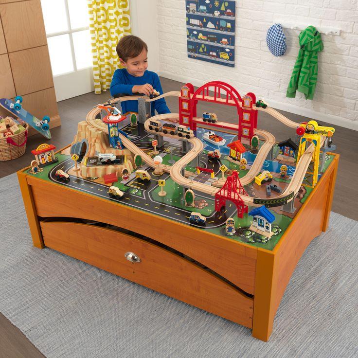 Kid Kraft Metropolis Train Set U0026 Table   Honey   17496