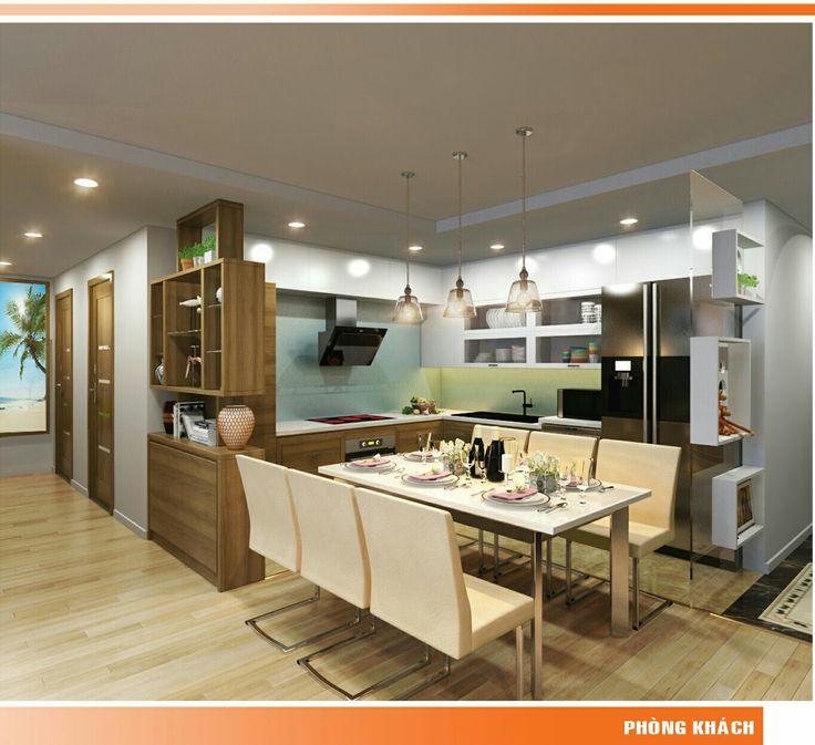 Bếp hiện đại với gỗ sồi thịt kết hợp gỗ công nghiệp