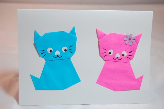 Wedding Card  Origami Cat/Kitty Greeting Card by SallysArtistry, $4.99
