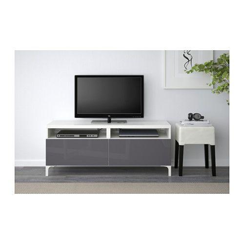 Best Tv Bench With Drawers White Selsviken High Gloss Grey Drawer Runner Push Open Ikea
