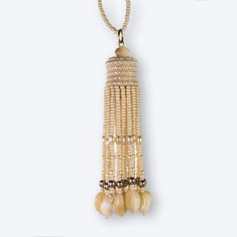 Handmade Ecru Pearl Shimmering Beaded Tassel Necklace