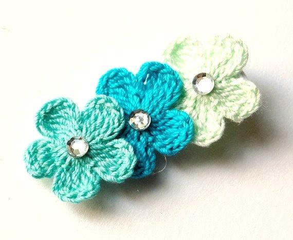 Baby Hair Clip  Crochet Hair Clip  Flower Hair by HappyHairDay, $4.00