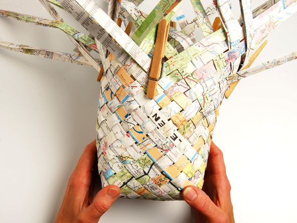 Woven Map Basket: Repurpose your old road maps. The tutorial is here:  makeprojects.com/...