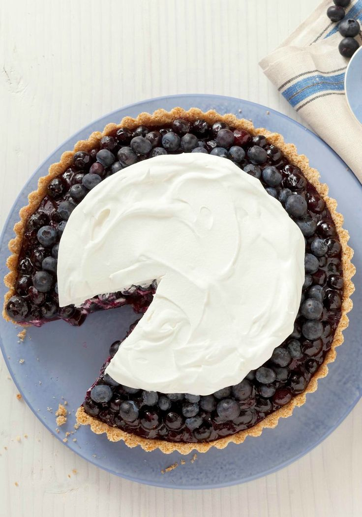 Blueberry Refrigerator Pie -- It isn't necessary to have a tart pan to make this delicious dessert recipe, but it does maximize the oohs and aahs if you're having company.