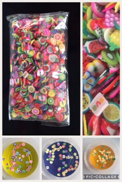 This listing is for one bag of 1000 Fimo Fruit Slices. Size: 5mm Quantity: 1000 Polymer Clay Assorted Slices!  Fimo slices are tiny and very thin. They are perfect for slime, nail art, embellishments or other crafts