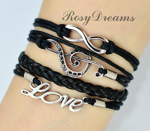 Then, for me...Infinity, Treble Cleff and love Charm Bracelet in Silver - music note - Best Gift on Etsy, $3.99