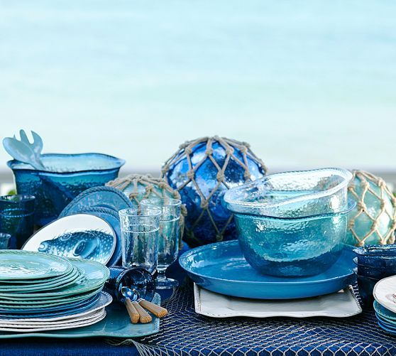 Blue, teal, and white (4 each) Rope Outdoor Dinnerware, Blue | Pottery Barn