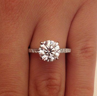 2 56 Ct Round Cut D SI1 Diamond Solitaire Engagement Ring 14k White Gold | eBay
