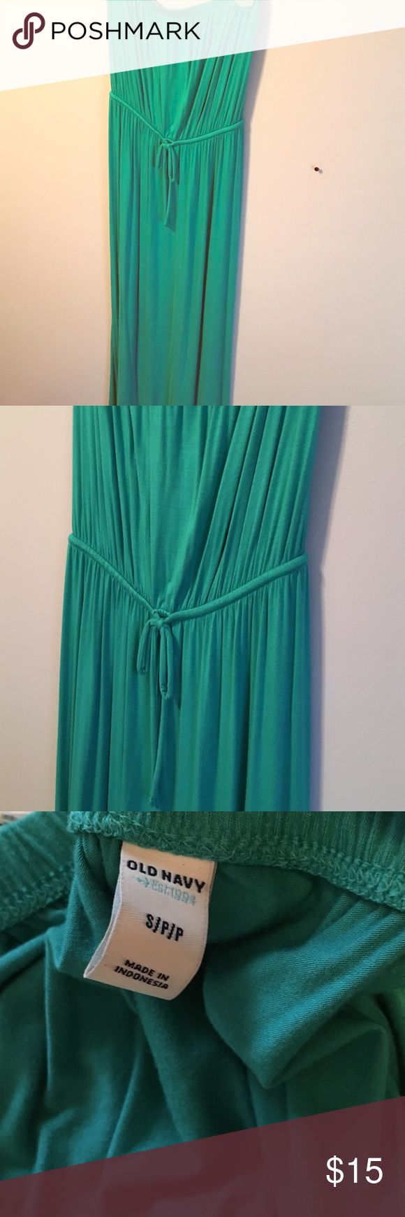 Turquoise Strapless Maxi Dress Strapless turquoise maxi dress with drawstring waistline; size small; brand: Old Navy; only worn a few times!! Perfect for summer; can be dressed up with a fun necklace! Old Navy Dresses Maxi