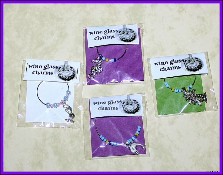 beach theme wine glass charms 4 sale