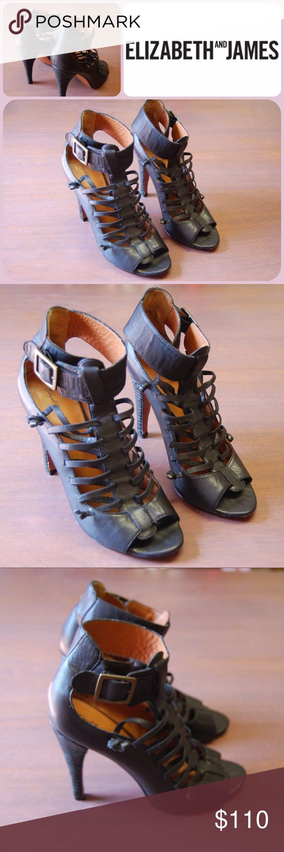 """Luella Caged Gladiator Bootie Heels Elizabeth and James gladiators add such a feeling of power when you put them on. You feel like you can do ANYTHING in the world. They are those kind of shoes. I am not joking. Layered banding across the 4.5"""" heel. Criss cross leather straps lead up to the buckle closure. Some normal wear on the soles, not any tear. Other than the soles, they are pretty perfect. You will feel stronger than Wonder Woman. Sold out at ShopBop & more expensive on other sites…"""