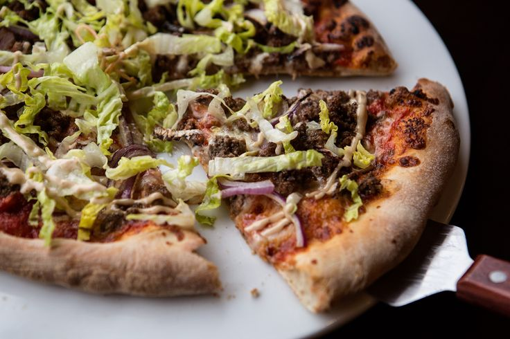 At La Rana Rossa, the Cheeburger Cheeburger Cheeburger pizza.