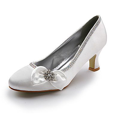 Satin Upper Mid Heel Closed-toes With Satin Flower/ Rhinestone Wedding Bridal Shoes – USD $ 39.99