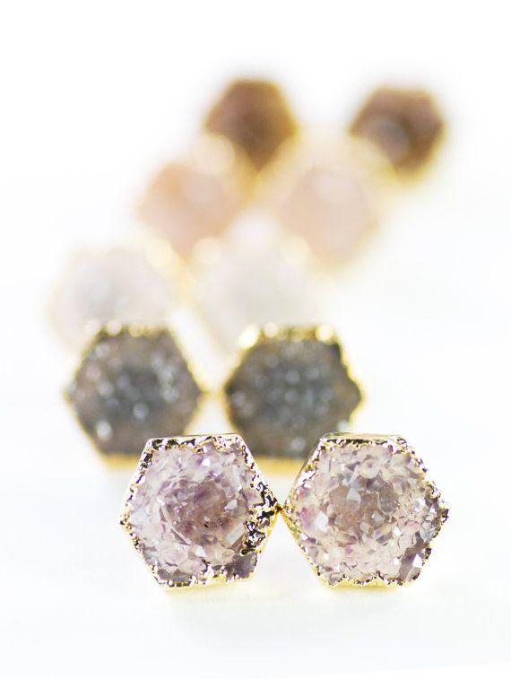 Hie earrings - gold druzy hexagon stud earrings, https://www.etsy.com/listing/172575181maui hawaii jewelry kealohajewelry