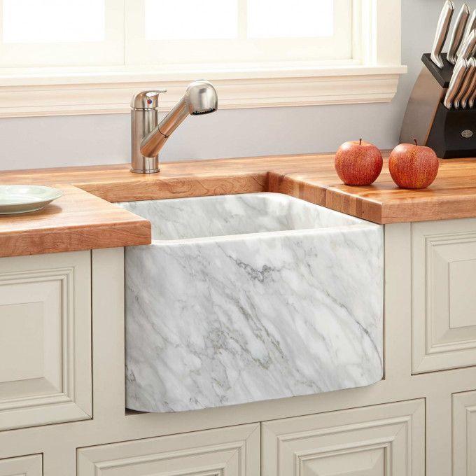 Polished Marble Single Bowl Farmhouse Sink Polished Carrara Marble Fireclay F Bowl In 2020 Stone Farmhouse Sink Kitchen Marble Prep Sink