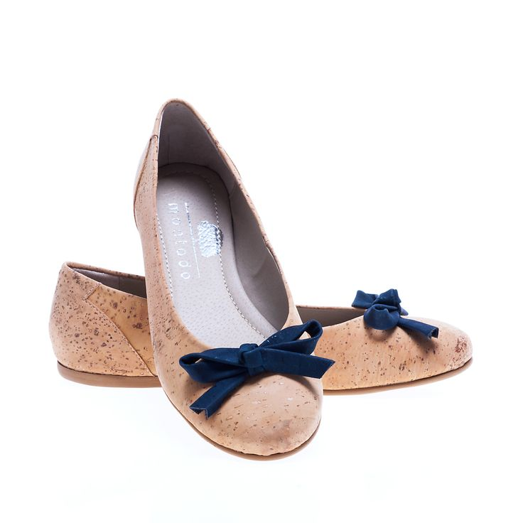 Ballerina shoes of Cork with Blue Ribbon. 100% Eco-Friendly, produced in Portugal. Lightweight, practical and sturdy. Montado - Cork with Art.