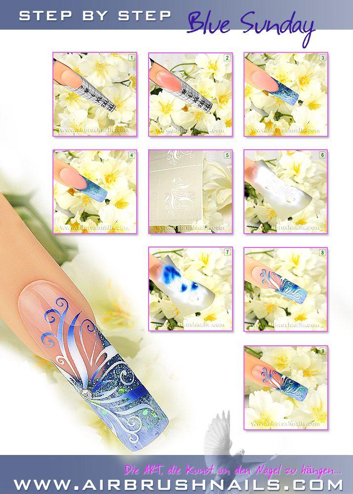 "Nailart Airbrush Tutorial ""Blue Sunday"""