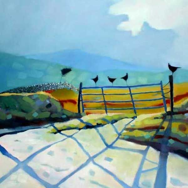 Birds on the farm gate by Sharon McDaid - PRINT