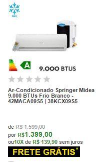 Ar-Condicionado Springer Midea 9.000 BTUs Frio Branco
