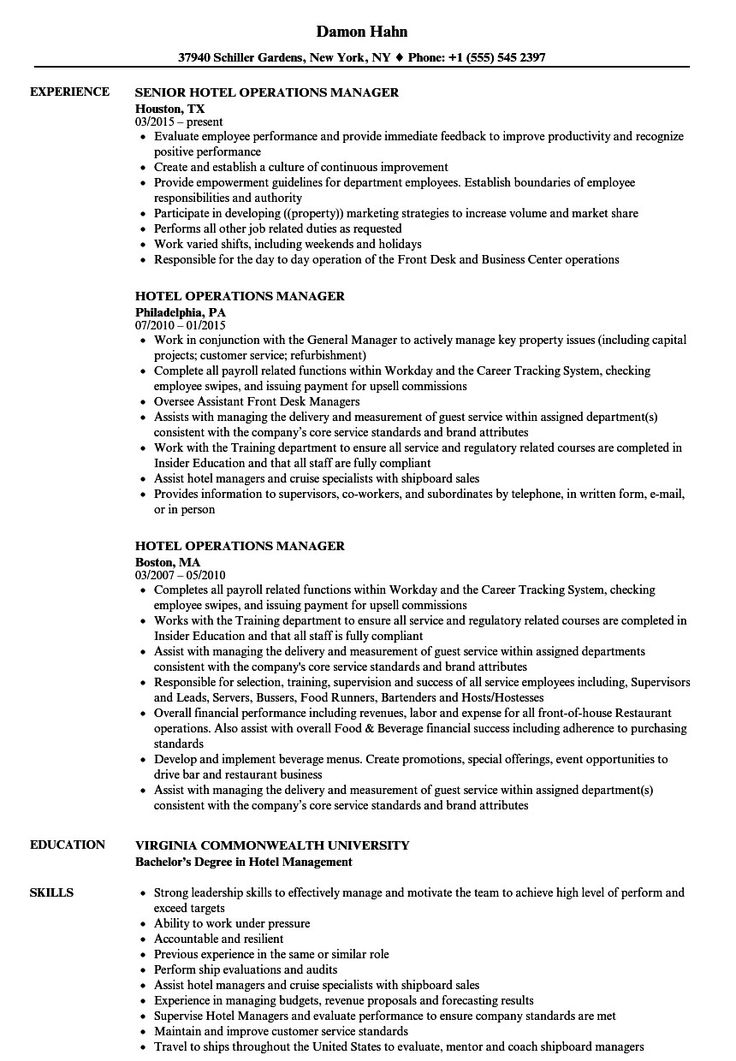 Hotel General Manager Resume Inspirational Hotel General
