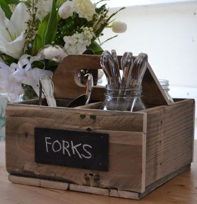 DIY: This caddy was made out of reclaimed pallets.  This is great for bringing utensils from the kitchen to the table, or could just sit on table and hold napkins, condiments, etc. #LiquidGoldSalvagedWood