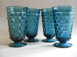 vintage+indian+blue+drinking+glasses | vintage royal blue drinking glasses or goblets, Indiana Glass ...