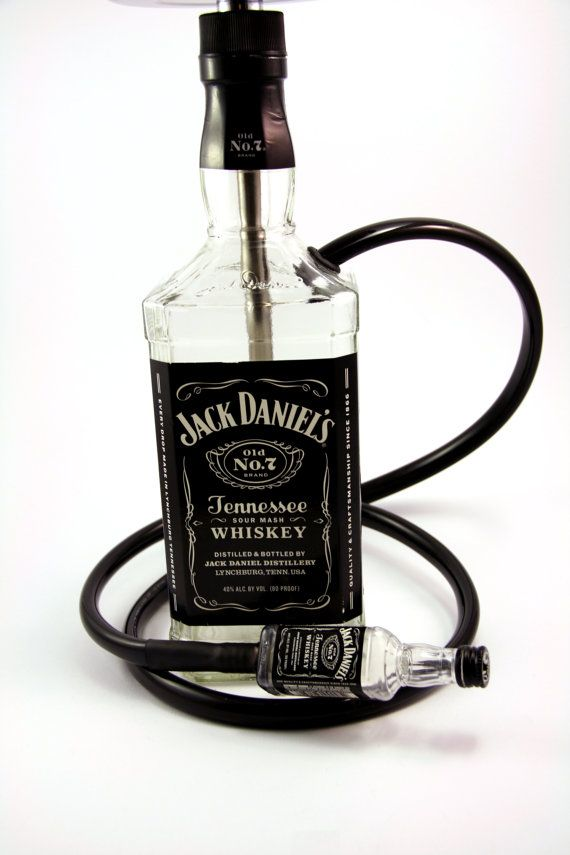 Jack Daniel's SMALL 750ML Glass Bottle Shisha Hookah With Matching Mini Jack Hose, Tray, and Bowl