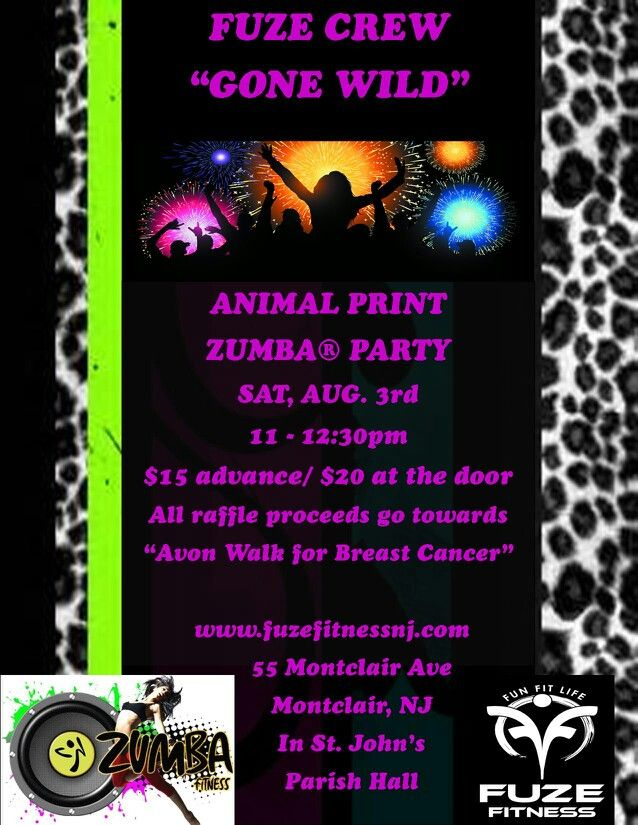 Join Us For This Animal Print Zumba Fundraising Event On 8 3 At Fuze Fitness In Montclair Nj Zumba Fundraiser Fundraising Events Fundraising Zumba Workout