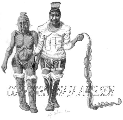 """""""Urene menneskers bod"""" pencil drawing by Naja Abelsen, about the old greenlandic world view; the young woman has prepared a dead persons funeral, thus being not pure, and here, after a years restriction she shows off her freedom and regained purity going thorugh the settlement with the seaweed and an old woman. illustration for Knud Rasmussens myth collection. Original for sale. Sesam publishing 2000. Naja Abelsen"""