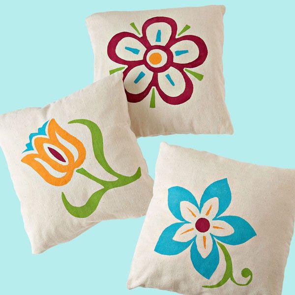 Stenciled Flower Pillows