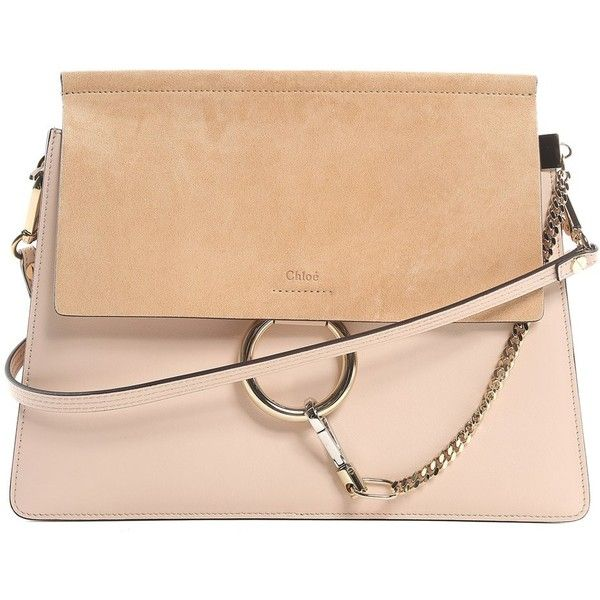 Chloe' Faye Medium Leather and Suede Shoulder Bag (€1.480) ❤ liked on Polyvore featuring bags, handbags, shoulder bags, grigio, suede purse, beige leather purse, leather shoulder handbags, beige shoulder bag and beige purse