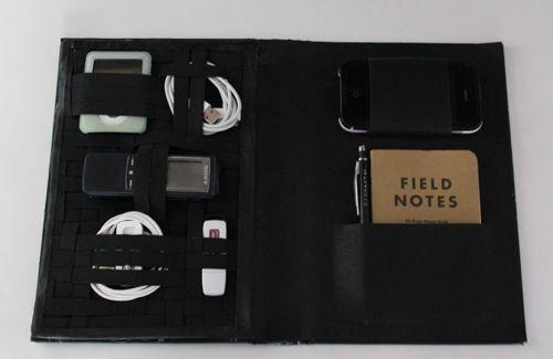 diy project: vintage book travel-tech organizer
