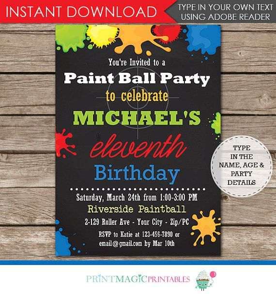 paintball printable invitation paintball birthday by
