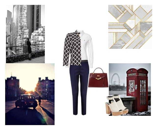 """""""geometric red and neutrals"""" by ivanaputri on Polyvore featuring Polo Ralph Lauren, Paul Smith Black Label, Rebecca Minkoff, Nipon Boutique and Hermès"""