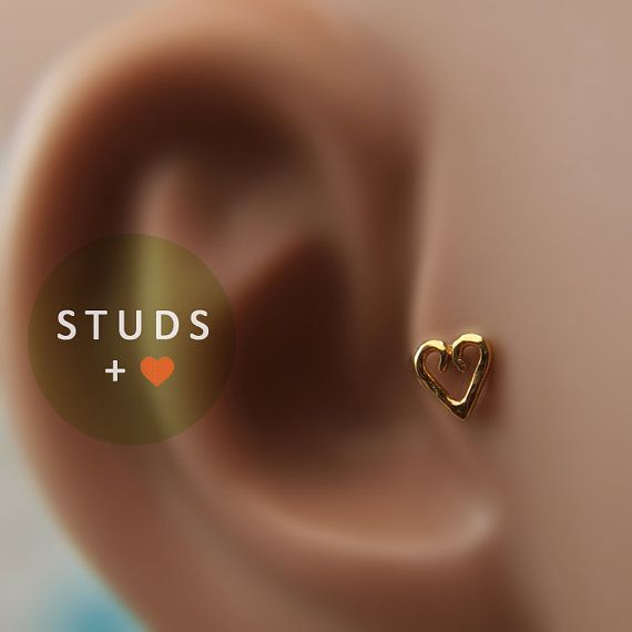 TRAGUS EAR STUD or cartilage /Celtic Heart/ 24k gold Plated/ piercing/ nose stud/ Cartilage Earrings/ Nose ring/ Hoop nose/ Helix Earrings on Etsy, €11,00