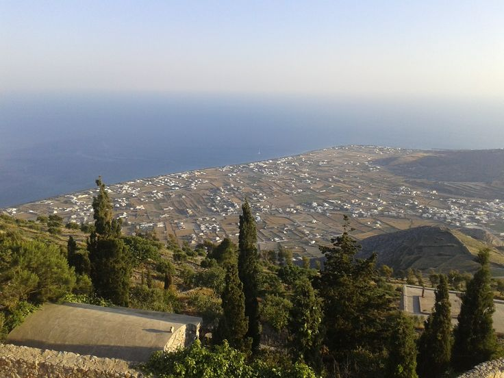 View of Perivolos beach and Perissa beach (south part of Santorini)
