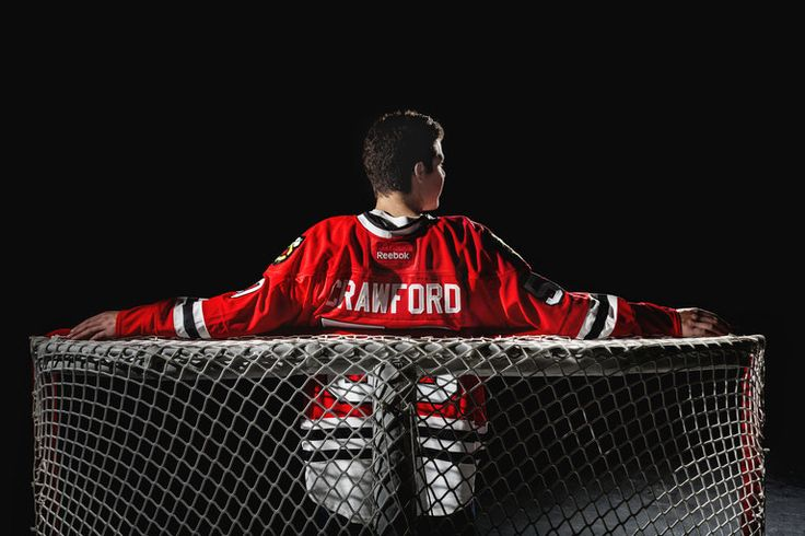 Chicago Blackhawks goaltender Corey Crawford on the ice at the United Center. More photos here: http://photos.redeyechicago.com/redeye-photos-of-blackhawks-goaltender-corey-crawford-20131001/