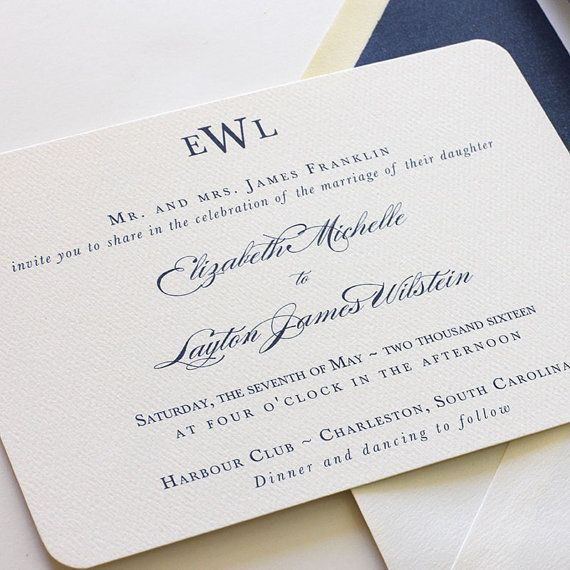 Monogram Wedding Invitation, Navy Wedding Invitation, Traditional Wedding Invitation, Belly Band Wedding Invite - Sample (Free Shipping) $3.30/ea for orders of 175+