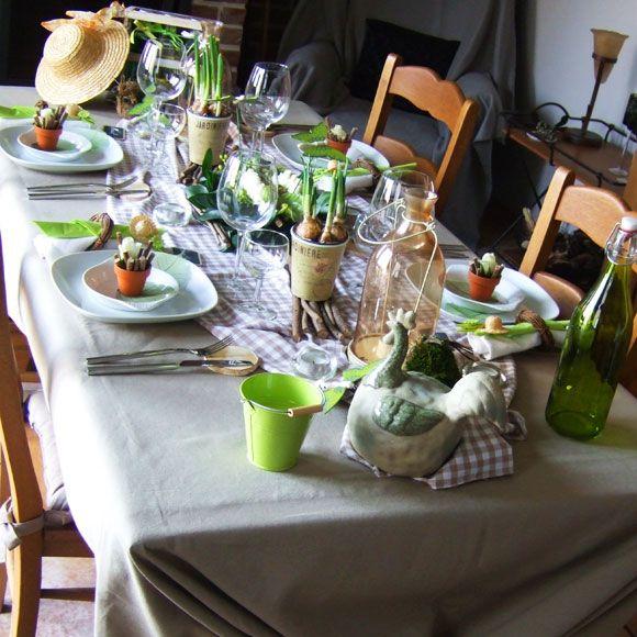 Conseils id e d coration de table pour p ques plus d for Decoration table champetre