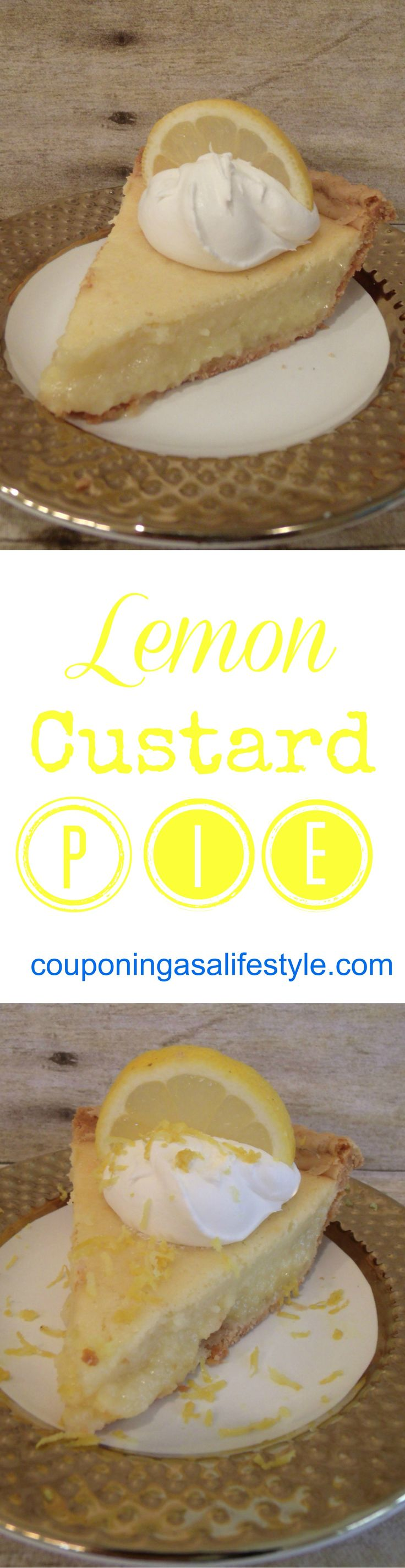 Delicious Lemon Custard Pie that takes me right back to my childhood.  Easy to make and will impress the best.  Pin for later.