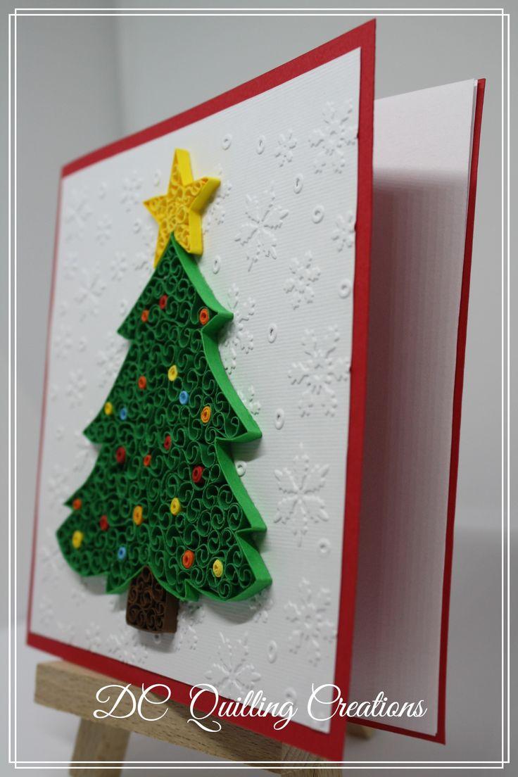 """Biglietto di auguri fatto a mano : Albero di Natale realizzato con la tecnica """"nido d'ape"""""""
