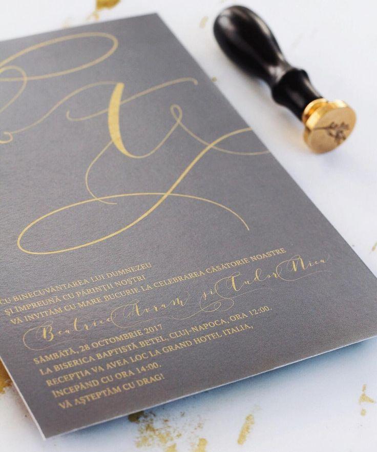 © PAPIRA invitatii de nunta personalizate // grey and gold wedding invitation #papiradesign #papirainvitations #invitatiidenunta #invitatiinunta